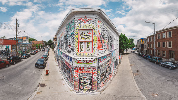 Photography of zilon at mural festival montreal in aerial for Art mural montreal