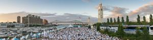 Diner en Blanc of Montreal 2015 at The Sailor's clock tower in Old Montreal