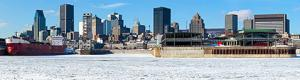 Montreal surrounded by ice on the St Lawrence River