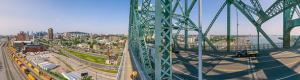 Jacques Cartier Bridge and Montreal in virtual reality