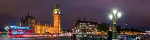 Westminster Bridge and Big Ben at night in London in Virtual Reality