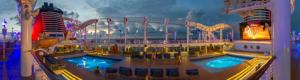 Disney Fantasy Pool Deck Panorama at Night in Virtual Reality